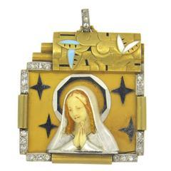 Art Deco Beautiful Mother of Enamel Pearl Diamond Gold St. Mary Pendant