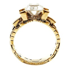 Bitcoin Blockchain Torus 18K Gold Ring with Center Baguette Diamond