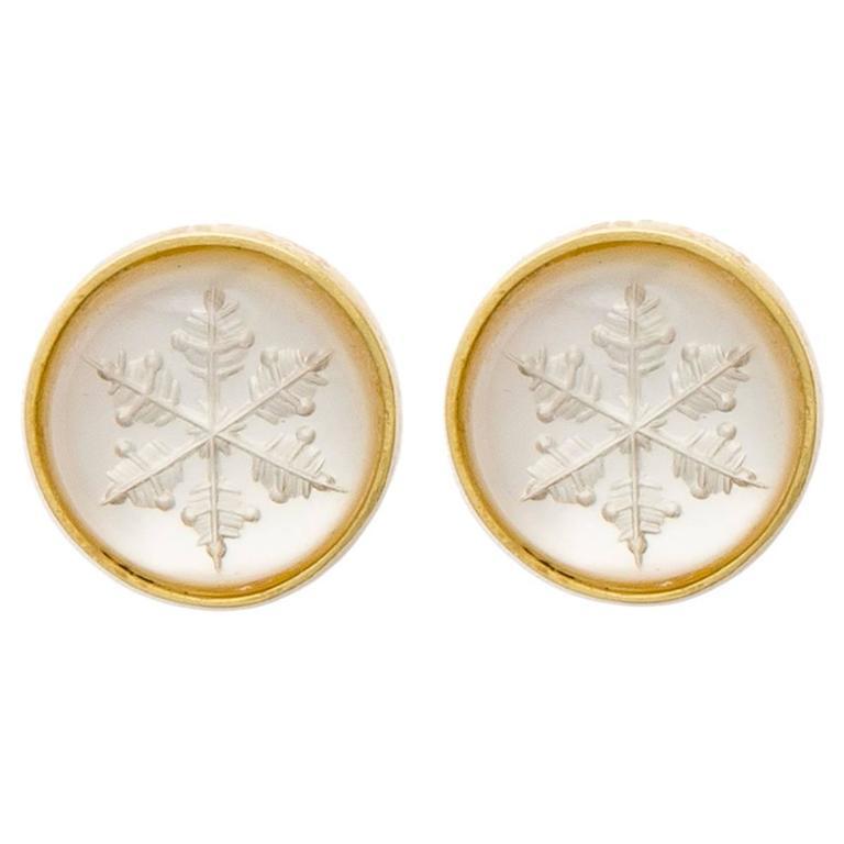 Snowflake Quartz Intaglio Gold Earrings 1