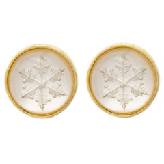 Snowflake Quartz Intaglio Gold Earrings