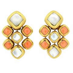 1980s Van Cleef & Arpels Coral Mother of Pearl Gold Earrings
