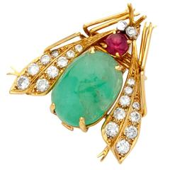 1960s Van Cleef & Arpels Emerald Ruby Diamond Gold Fly Pin