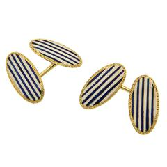 Navy and White Enamel Yellow Gold Cufflinks 1920s