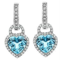 Heart-Shaped Aquamarine Earring Enhancers on Diamond Hoops