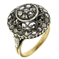 1870s Diamonds Silver Yellow Gold Dome Ring Engagement Vintage