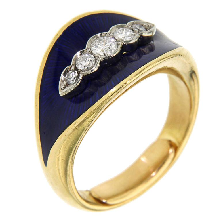 Blue Enamel Diamonds Yellow Gold Band Ring, 1950s For Sale