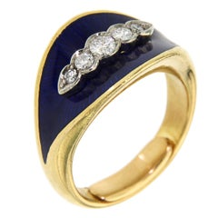 Blue Enamel Diamonds Yellow Gold 18 K Band Ring