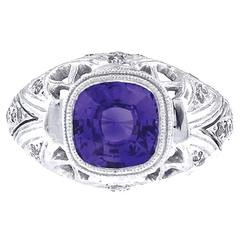 GIA Cert Purple Sapphire Diamond Platinum Engagement Ring