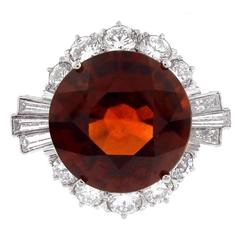 Natural Hessonite Garnet Diamond Gold Cocktail Ring