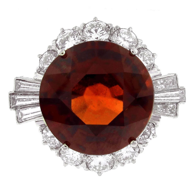 natural hessonite garnet diamond gold cocktail ring for