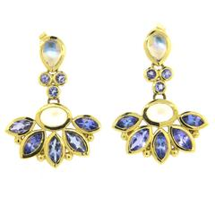 Temple St. Clair Phoenix Tanzanite Moonstone Gold Drop Earrings