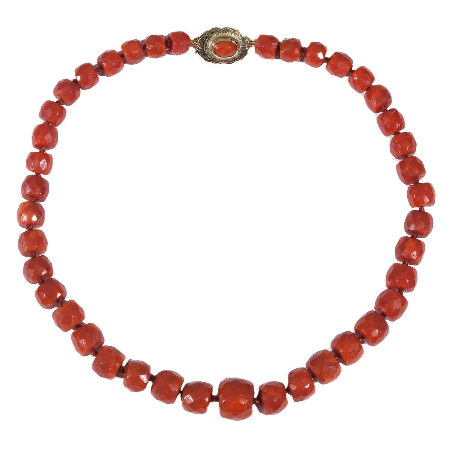 retro coral bead necklace at 1stdibs