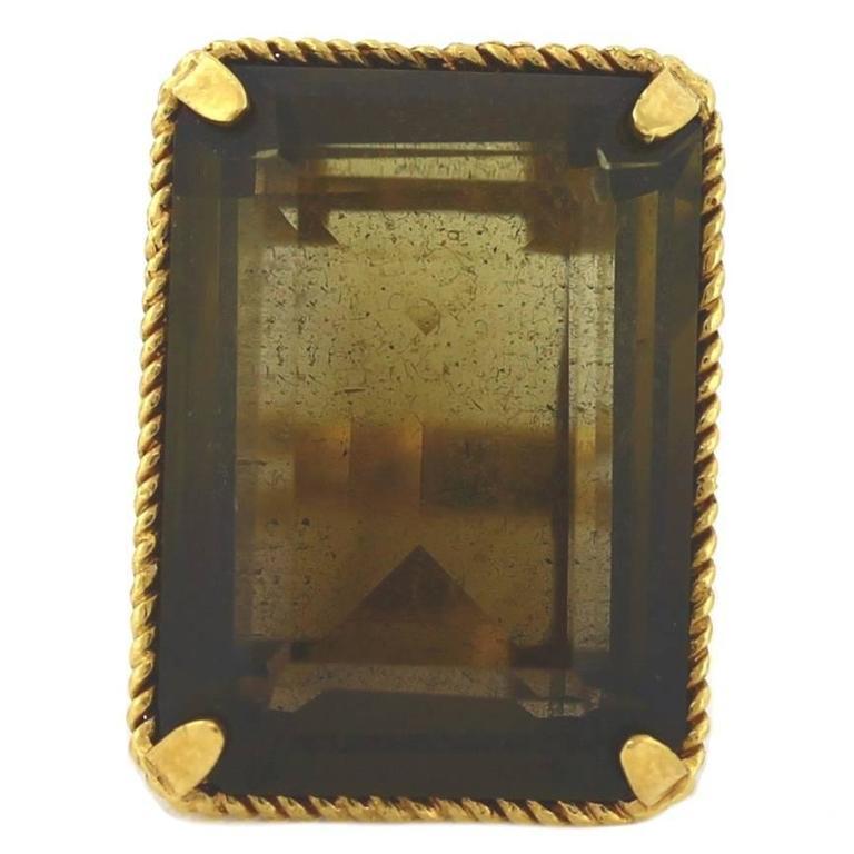 1960s Smoky Quartz Gold Cocktail Ring