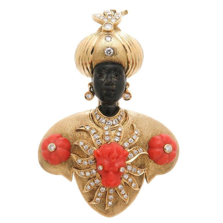 Nardi large Gem set Onyx Coral diamond Gold Blackamoor Brooch For Sale