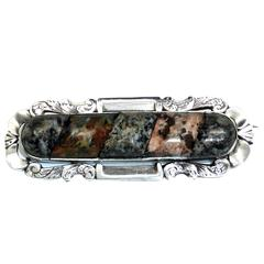 Large Victorian Sterling Silver-Mounted Slate Backed Scottish Agate Brooch