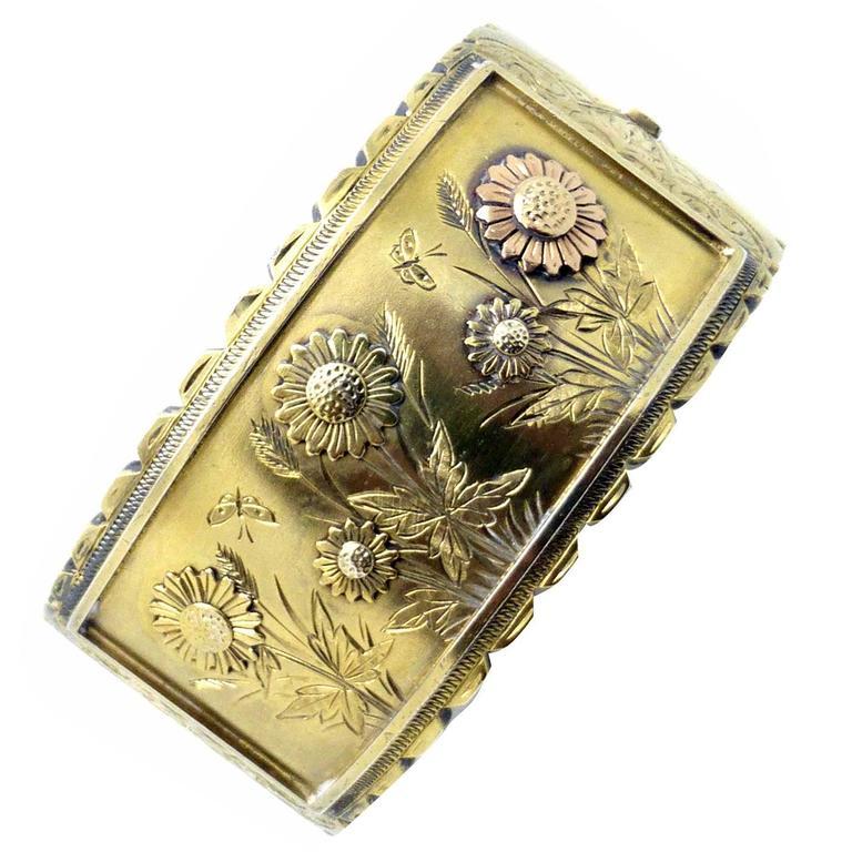 Victorian Sterling Silver-Gilt Bangle Bracelet