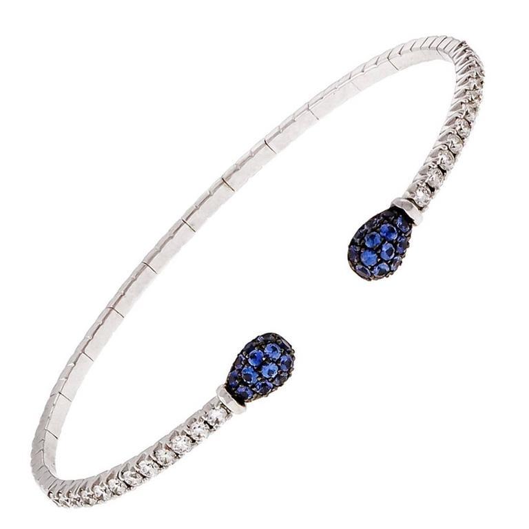 Spark Sapphire Diamond Gold Cuff Bracelet