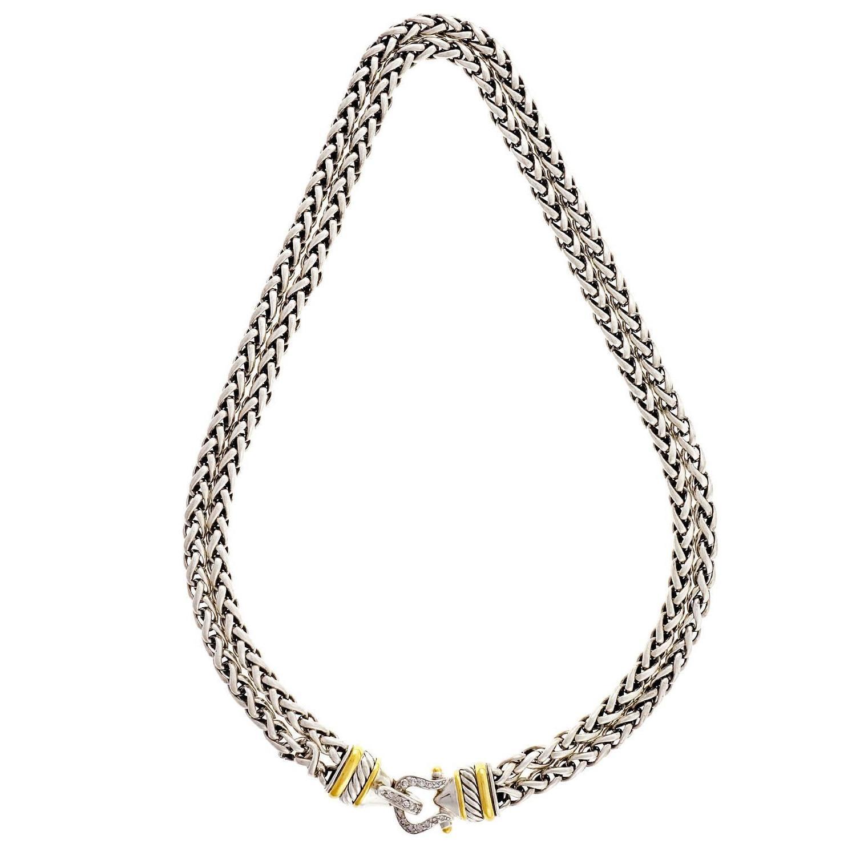 David Yurman Diamond Silver Gold Double Buckle Necklace