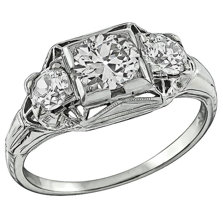 Edwardian Three Stone White Gold Engagement Ring
