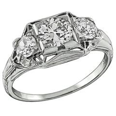 Edwardian Three Stone White Gold Engagement Ring