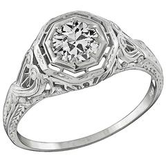 Edwardian Old Mine Cut Diamond White Gold Engagement Ring