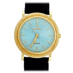 Omega Yellow Gold Custom Colored Ice Blue Dial Wristwatch