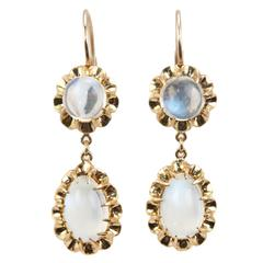 1950s Moonstone Gold Dangle Earrings