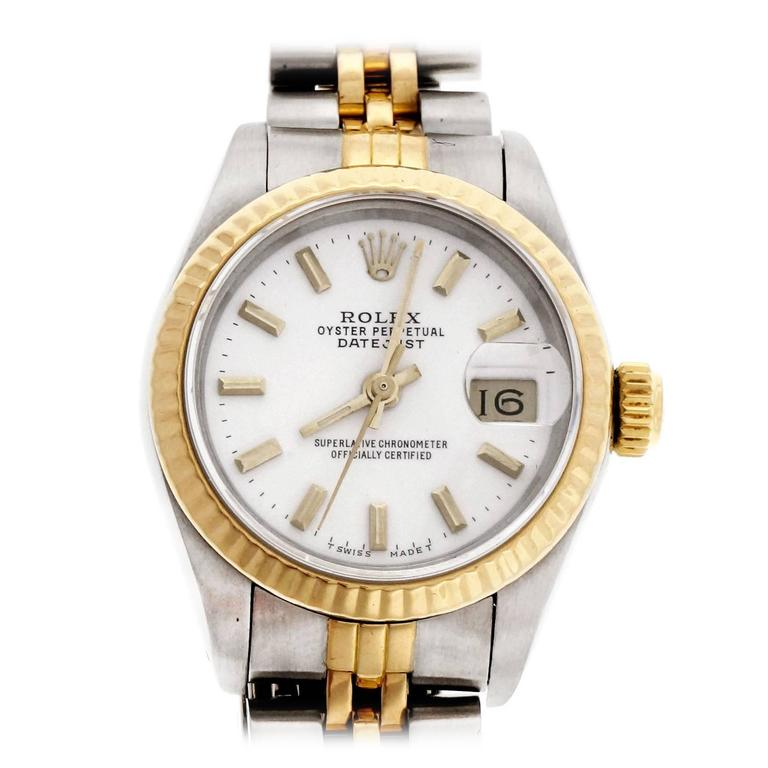 Rolex Lady's Yellow Gold Stainless Steel Datejust Custom Colored Dial Wristwatch