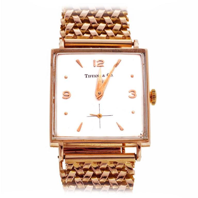 Tiffany & Co Rose Gold Universal Geneve Wristwatch