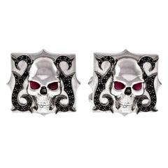 Stephen Webster Ruby Sapphire White Gold Skull Cufflinks