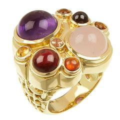 Amethyst Rose Quartz Garnet Multi-Gemstone Gold Ring