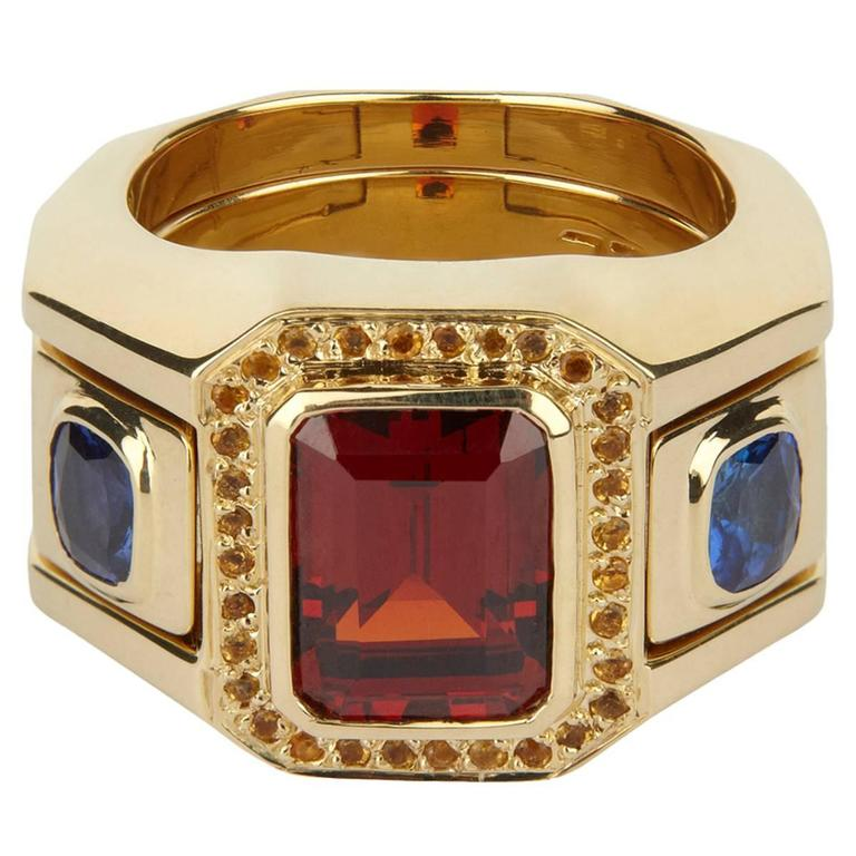 TPL Gold Garnet Sapphire Citrine Interlocking Cocktail Ring