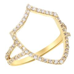Insignia Chevron Shield Diamond and Gold Ring
