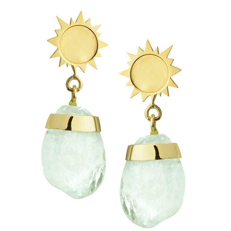 TPL Gold Aquamarine Sun Earrings