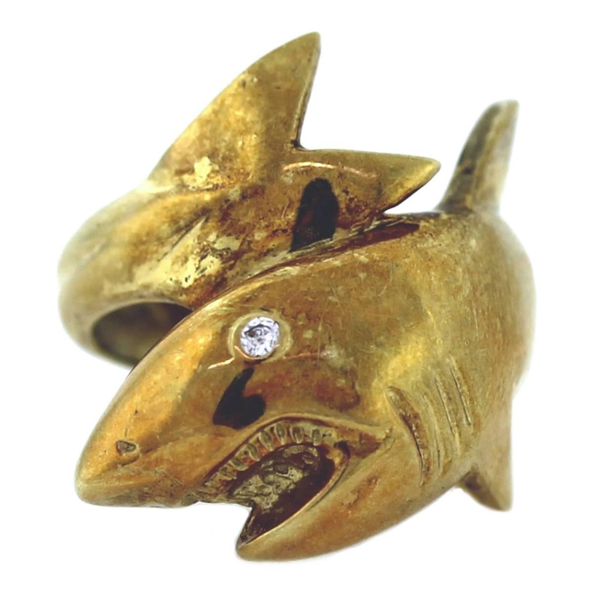 Maurice Katz Yellow Gold Shark Ring At 1stdibs