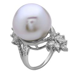 Very Unique Pearl and South Sea Pearl Diamond Gold Ring