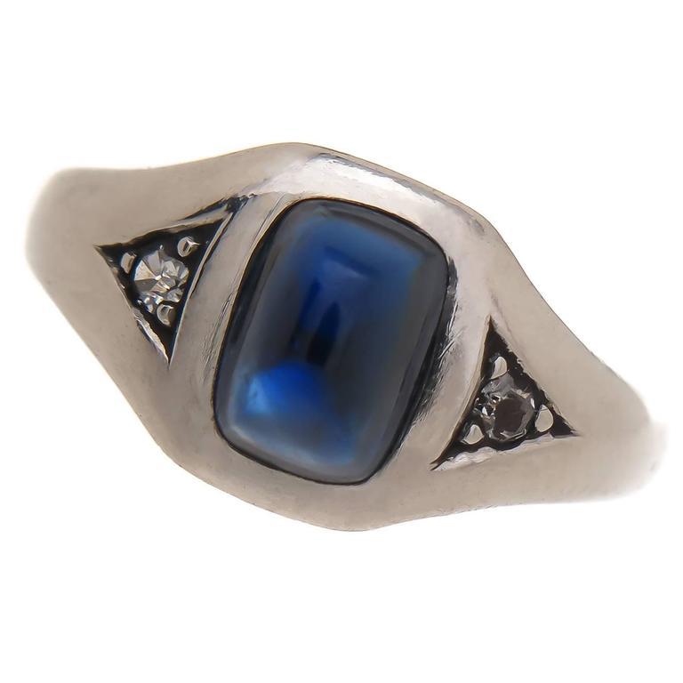 1920s J E Caldwell Sapphire Platinum Gold Ring At 1stdibs