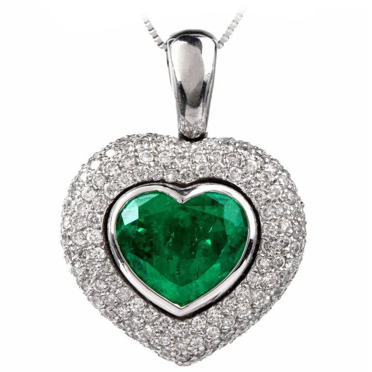 11.13 Carat Colombian Heart Shaped Emerald Pave Diamond ...
