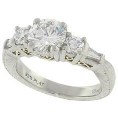 1.02 Carat GIA Cert Diamond Platinum Engagement Ring