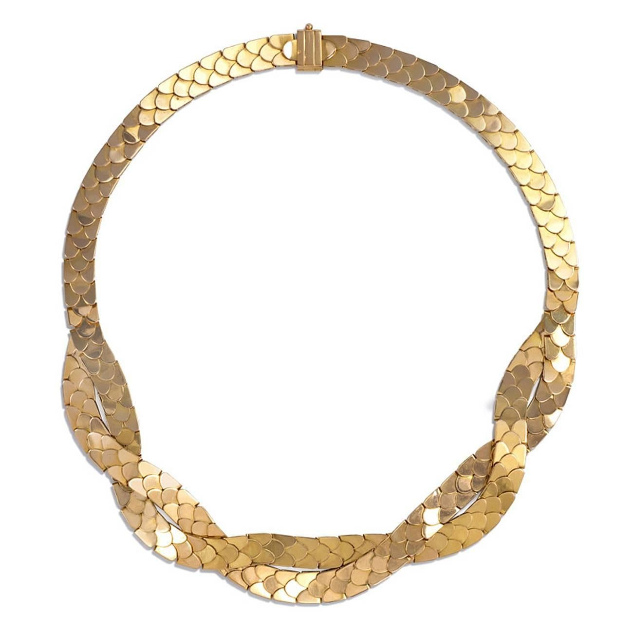 1940s French Gold Reversible Necklace with Brick Link and Scaled Patterns