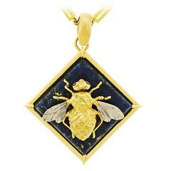 Fab 1960s Lapis and Gold Bee Pendant
