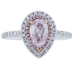 1.01 Carat Pink Pear shaped Diamond Gold Engagement Ring