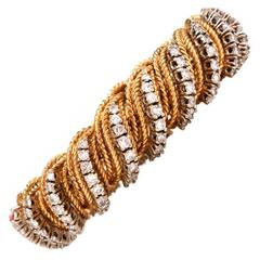1960s Diamond Gold Flexible Braided Bracelet