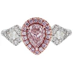 1.01 Carat GIA Cert Pink Pear Shape Diamond Two Color Gold Engagement Ring