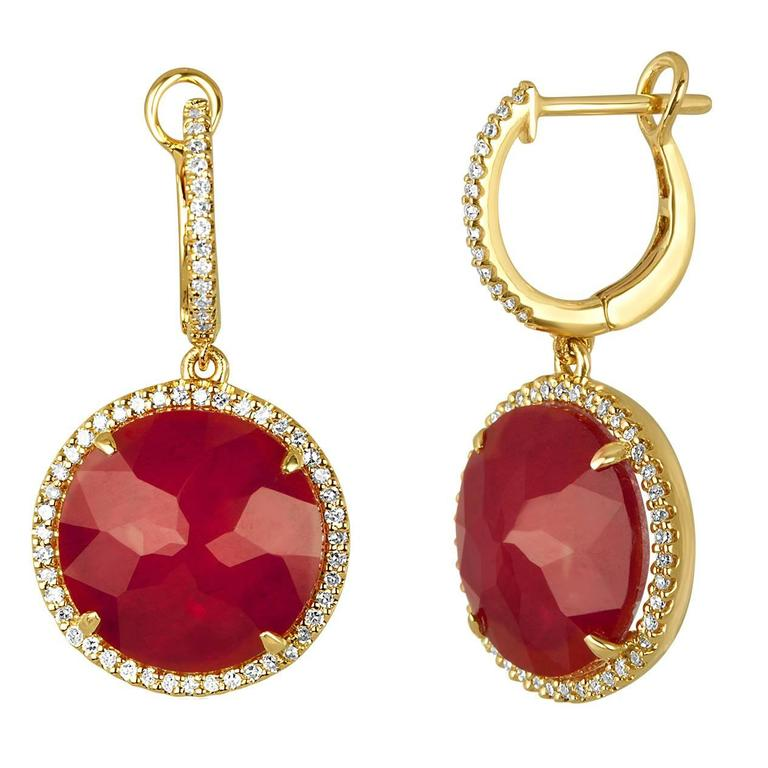 Doublet 7.00 Carats Ruby Rock Crystal Diamond Gold Dangle Earrings For Sale