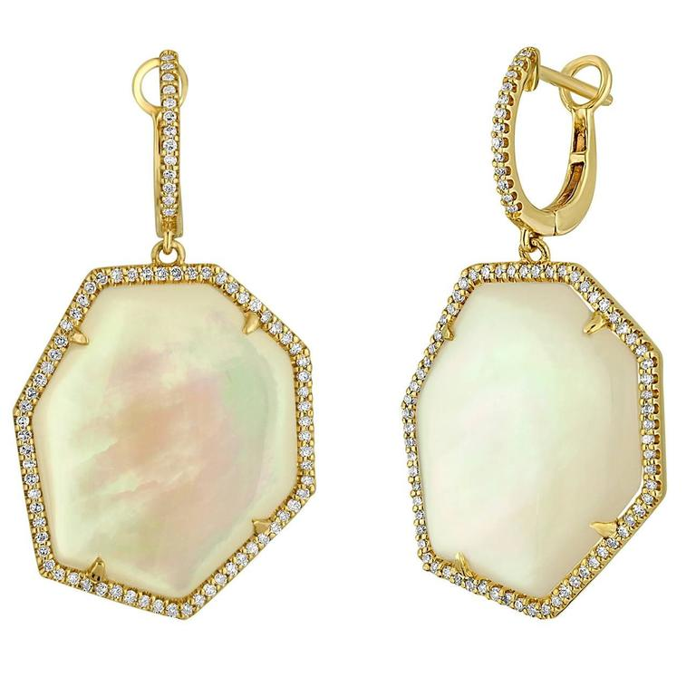 Mother of Pearl 0.47 Carats Diamond Gold Dangle Earrings