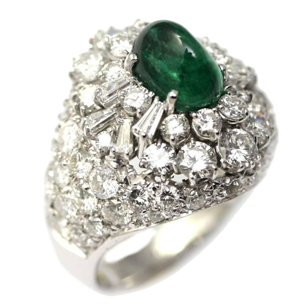 2.69 Carat Emerald Diamond Gold Dome Ring
