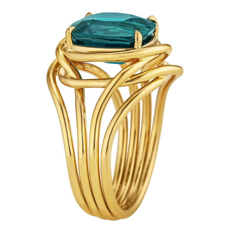 Tiffany & Co. Schlumberger Indicolite Tourmaline Gold Ring 1