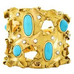 Brutalist Persian Turquoise Gold Cuff Bracelet