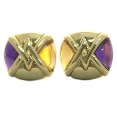 Bulgari Geometrical Citrine Amethyst Gold Ear Clips